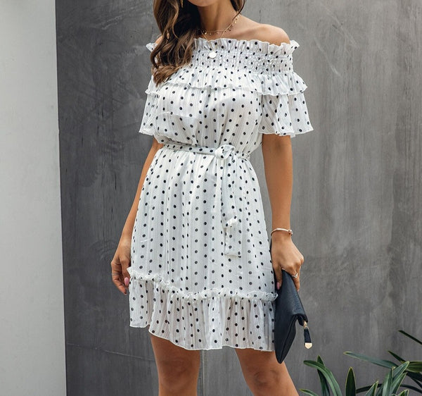 Polka Dot Printed Lace up Off Shoulder Dress
