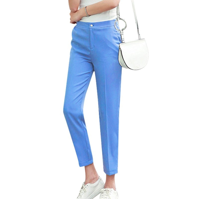 Fashion Solid Mid Elastic Waist Long Trousers