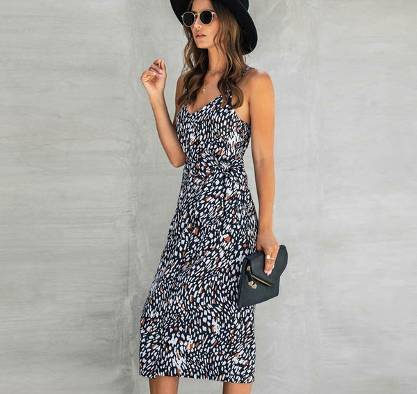 Boho Leopard Print Sleeveless Knot Waist Dress