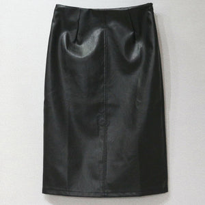 Necessary Slim Midi Leather Skirt