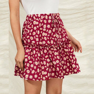 Red Floral Print Ruffles Mini Skirt