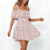 Off Shoulder Floral Print Ruffle Slim Mini Dress