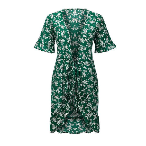Floral Print Short Sleeve Wrap Mini Dress