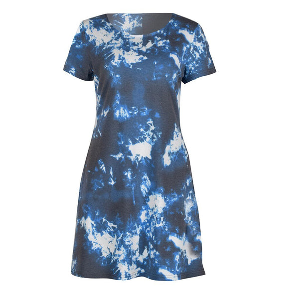Blue Tie-dye Print Pocket Mini Dress