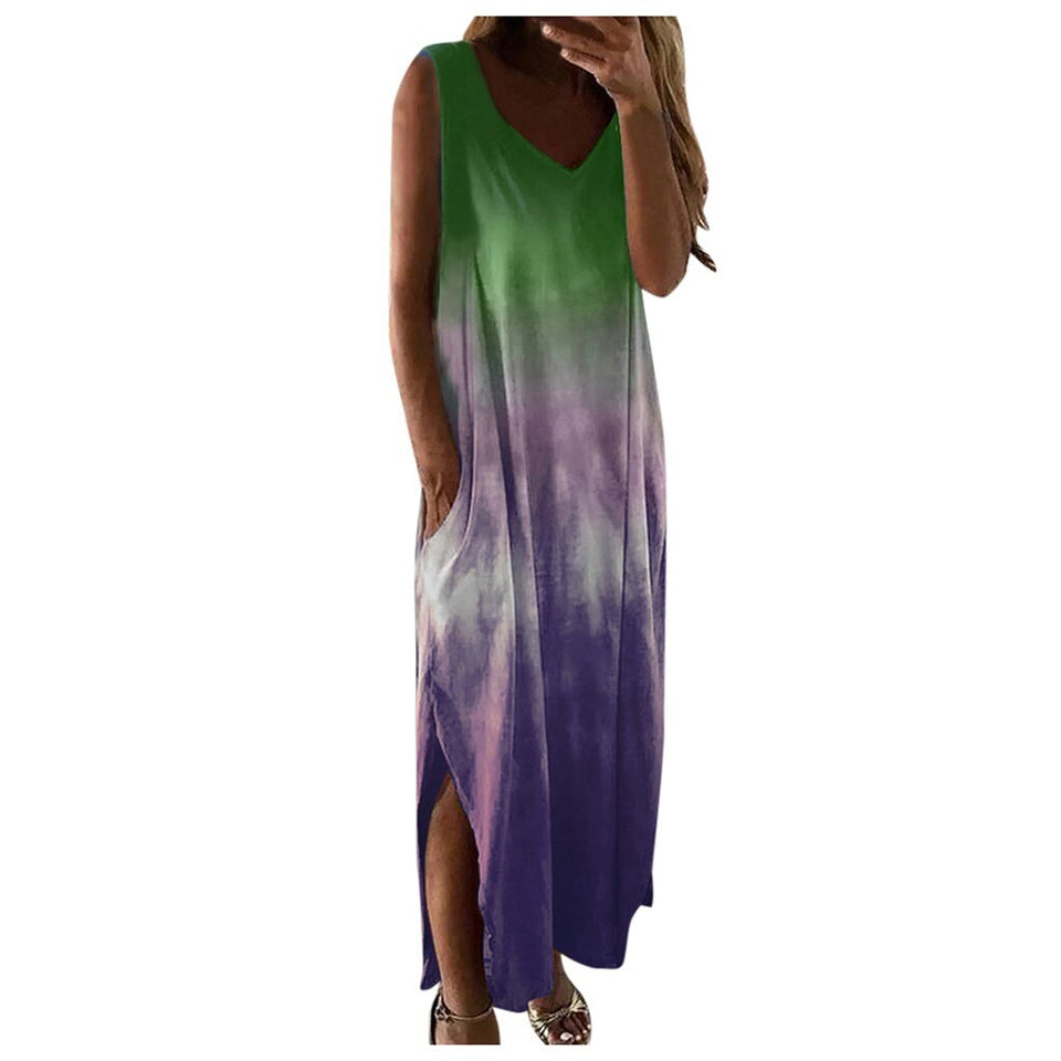 Gradient Tie Dye Long Maxi Dress