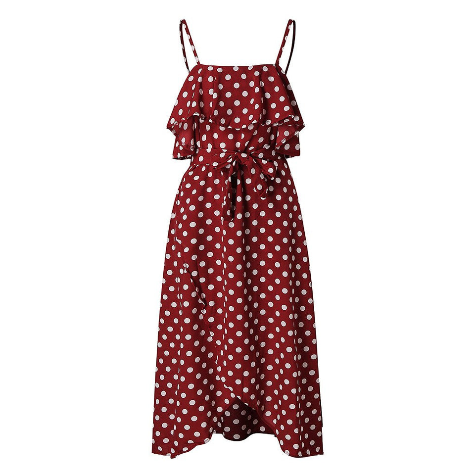 Polka Dot Ruffle Lace Up Sleeveless Sling Dress