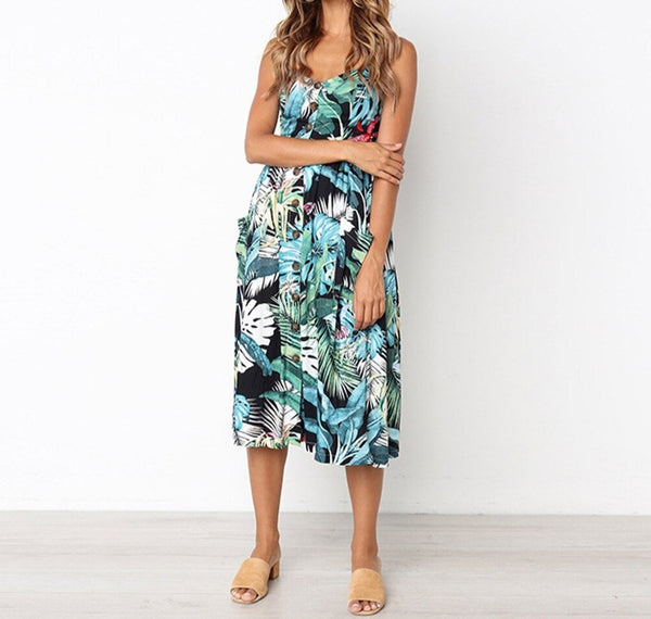 Plant Print Sleeveless Sundress