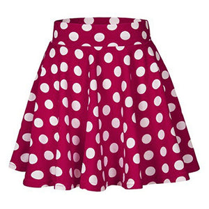 Dot Printed High Waist Pleated Skirt
