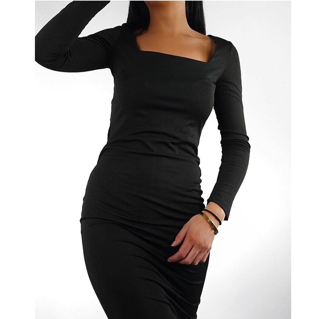 Vintage Square Neck Long Sleeve Dress