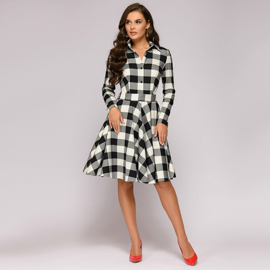 Plaid Turn-down Collar Midi Dress