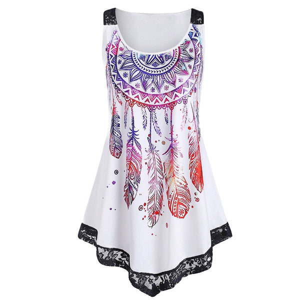 Feather Print Sleeveless Top