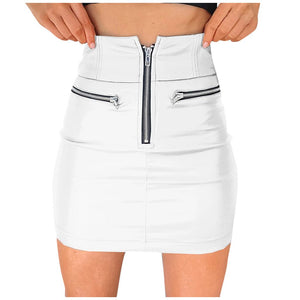 Leather High Waist Bandage Mini Skirt