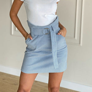 Corduroy Belted Mini Skirt