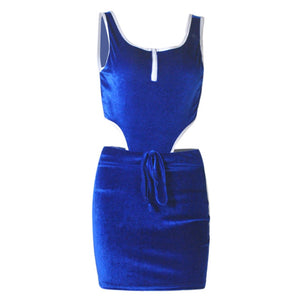 Spliced Backless Sleeveless Top + Mini Skirt Set