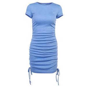 Casual Drawstring Sheath Slim Mini Dress