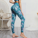 Plants Printed Fitness Short Top and High Waist Long Pants