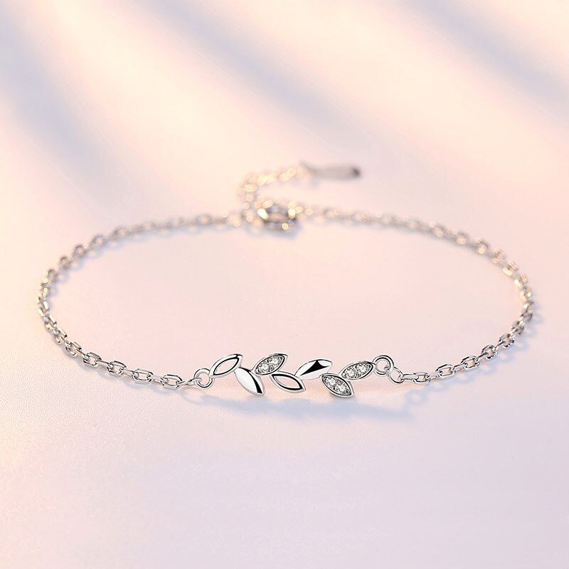 Crystal Lucky Leaf Link Chain Bracelet