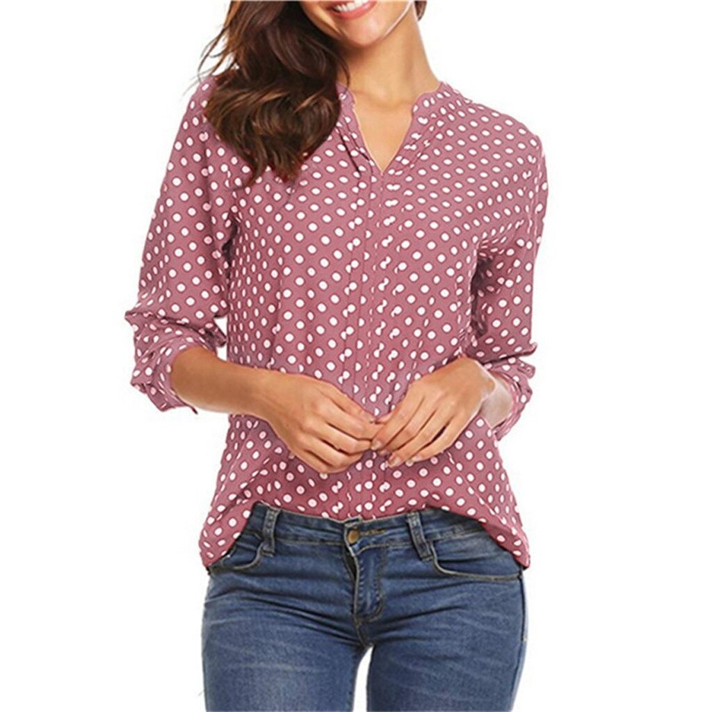 Dot Print Long Sleeve Button Blouse