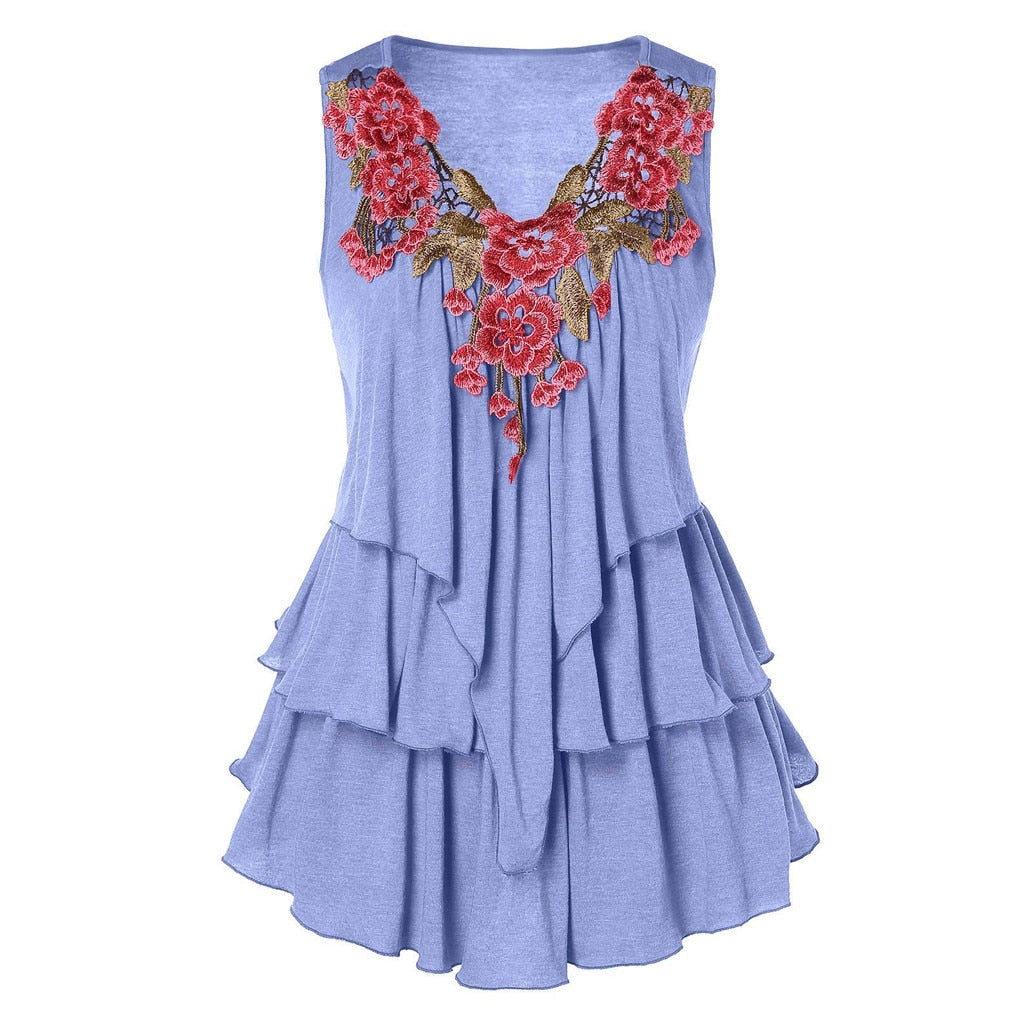 Floral Hollow Out Embroidered Layered Top