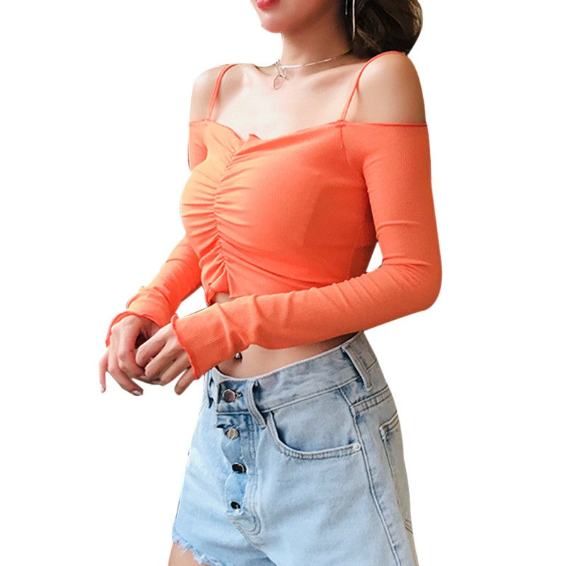 Off Shoulder Ruched Spaghetti Strap Crop Top