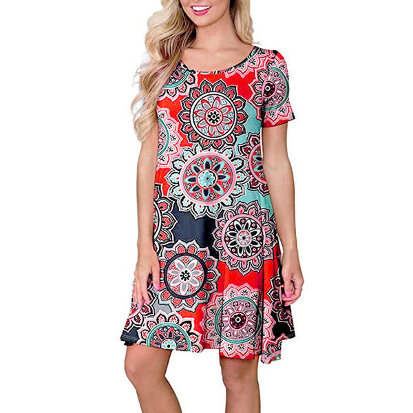 Big Colorful Floral Printed Mini Sundress