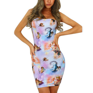 Angel Print Bodycon Mini Sundress
