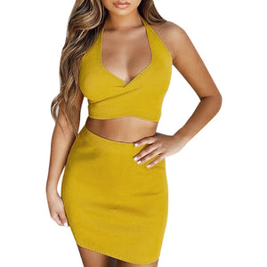 Yellow Criss-Cross Bow Bandage Crop Top and Short Skirt Set