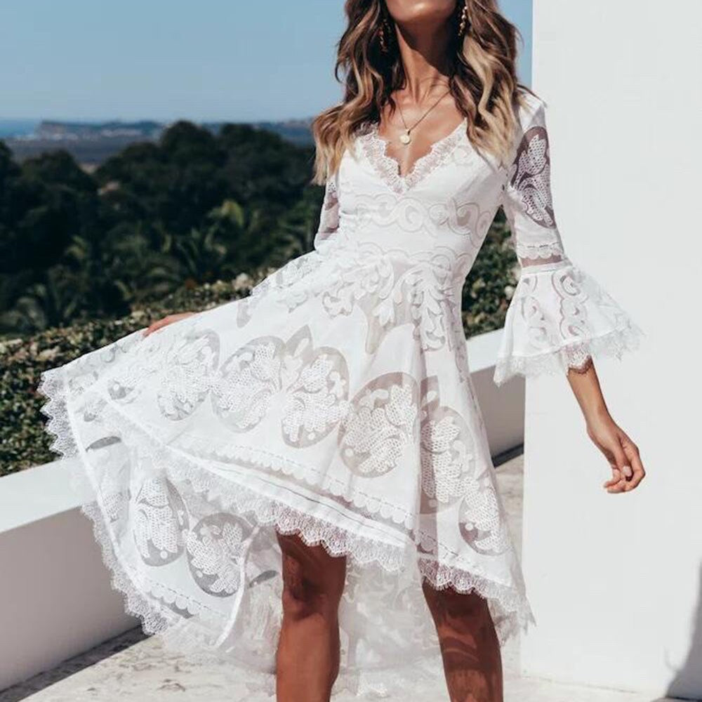 White Lace Mesh Midi Dress
