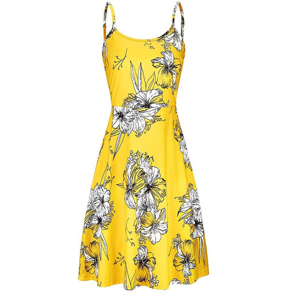 Strappy Floral Printed Flared Swing Dress