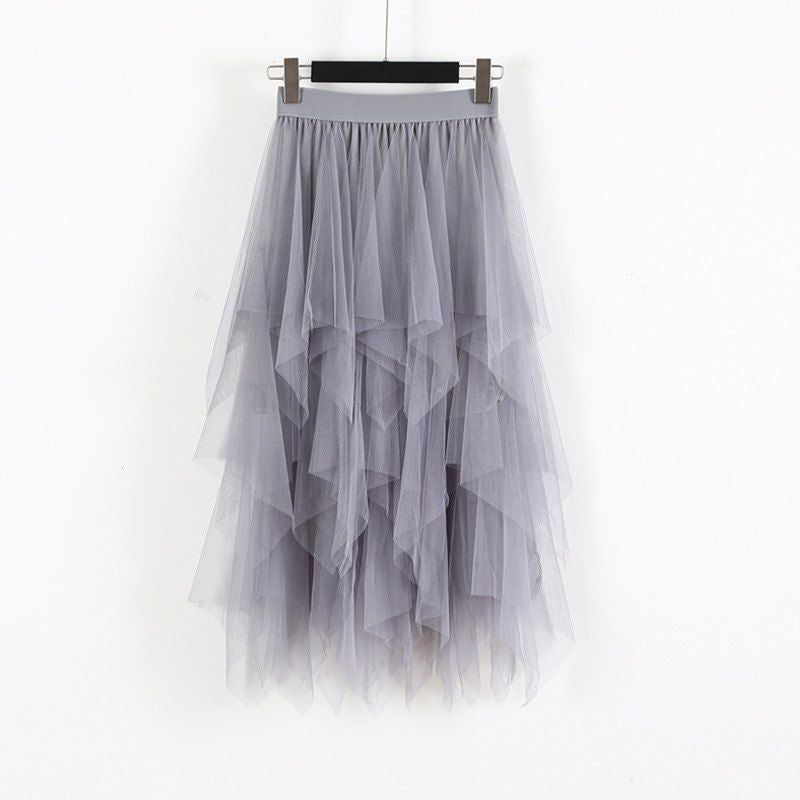 Elastic High Waist Long Tulle Skirt