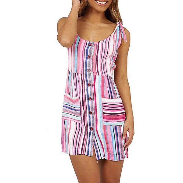 Sleeveless Striped Print Dress