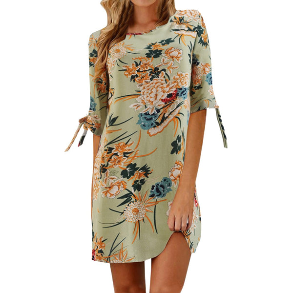 Chiffon Floral Print Bowknot Dress