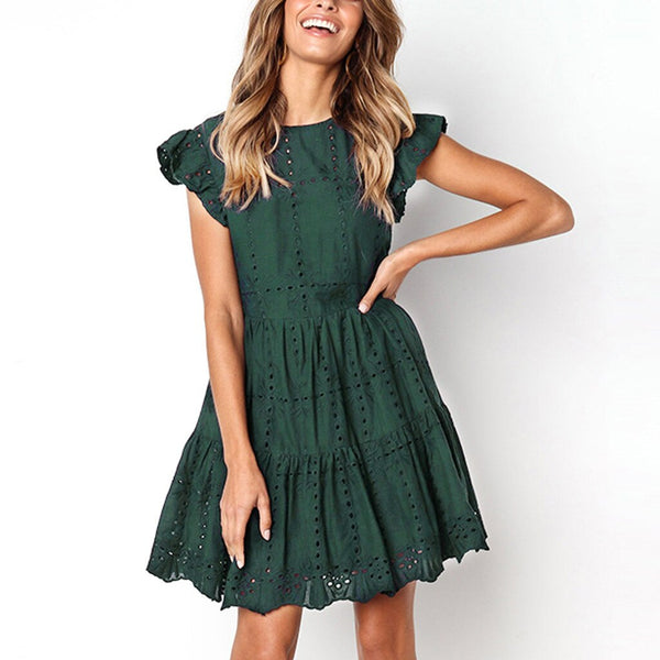 Casual Ruffles Sleeve Ruched A-Line Dress