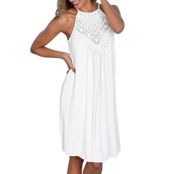 White Lace Patchwork Solid Loose Hem Dress