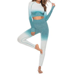 Tie-Dye Gradient Workout Crop Top and Pants
