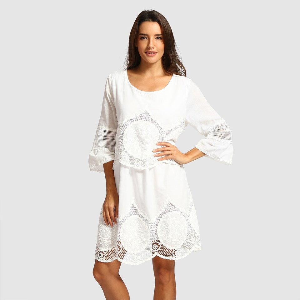 White Lace Embroidery Loose Dress