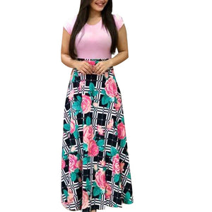 Short Sleeve Floral Printed Maxi Dress