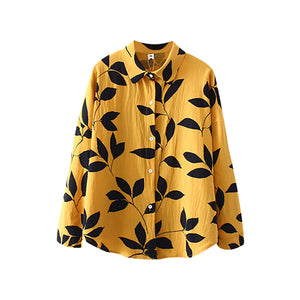 Leaf print Long Sleeve Lapel Shirt