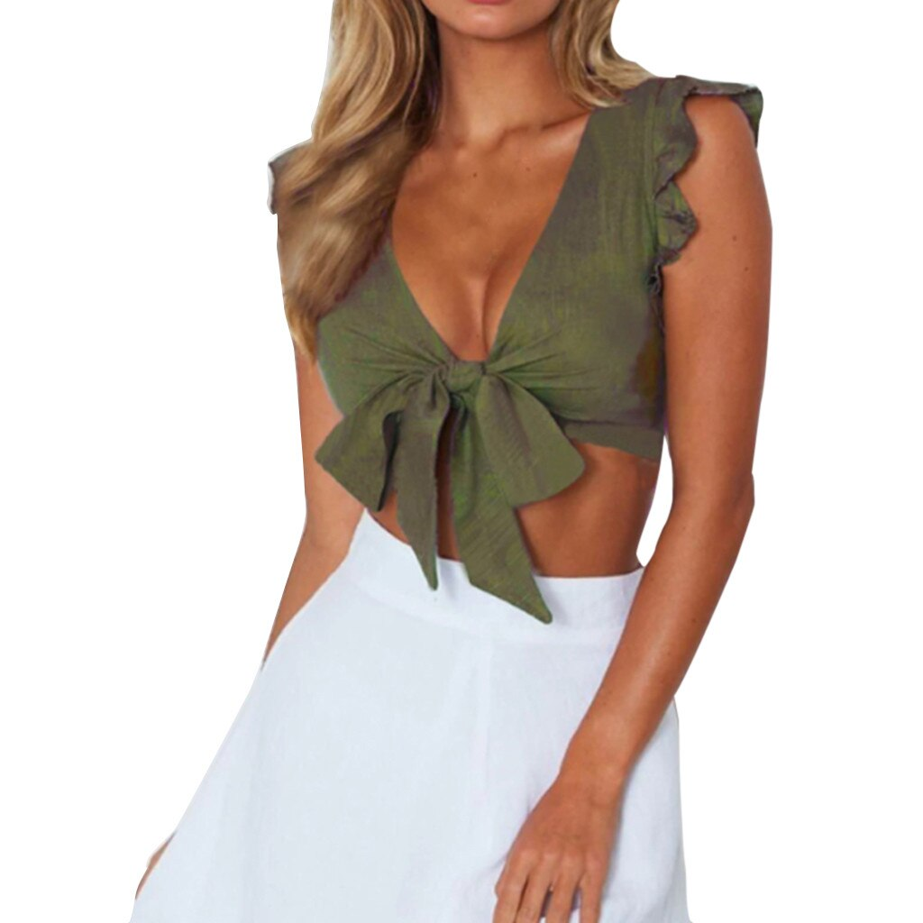 Ruffles Bow Sleeveless Crop Top