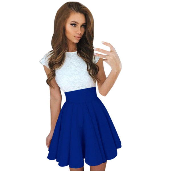 Patchwork Short Sleeve Skater Dress