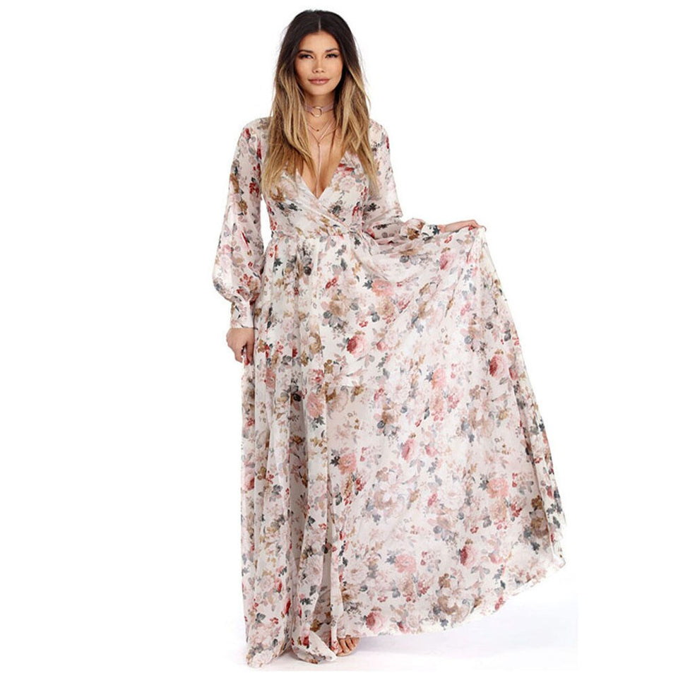 Chiffon Floral Sashes Maxi Dress