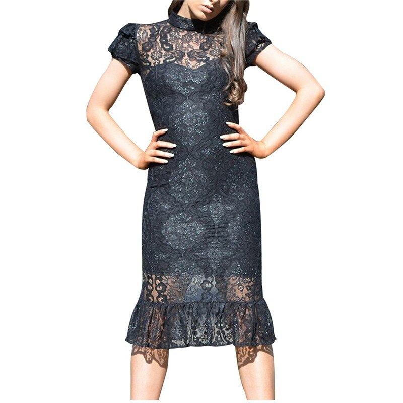 Lace Short Sleeve Split Dress