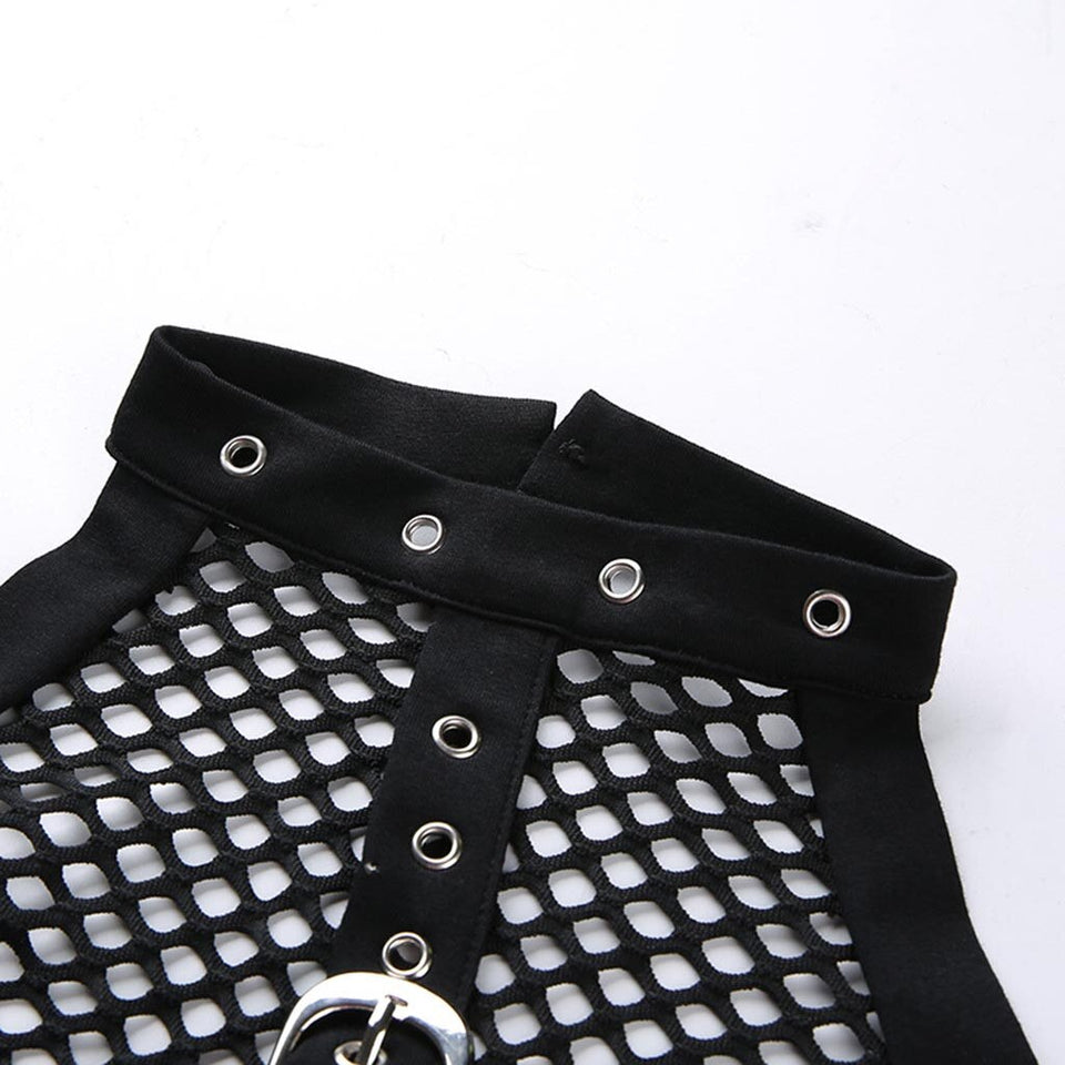 Punk Gothic Transparent Mesh Rivet Top