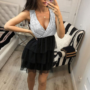 Black Sequin Mini Bodycon Dress