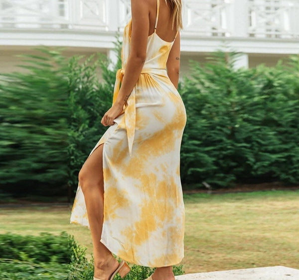 Tie-dye Print Knotted Waist Sling Maxi Dress
