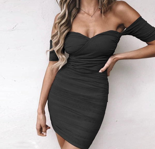 Off Shoulder Short Sleeve Strapless Mini Dress