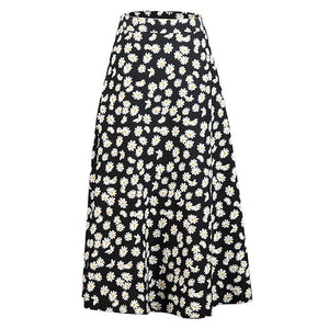Daisy Print High Waist Midi Skirt