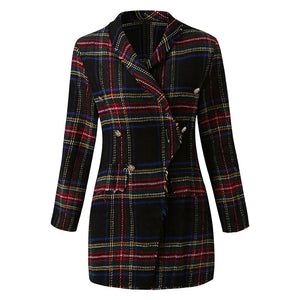 Red Plaid Long Sleeve Jacket