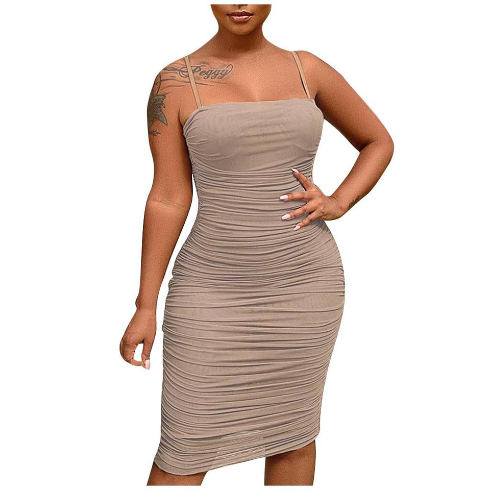 Bodycon Ruched Backless Slim Dress