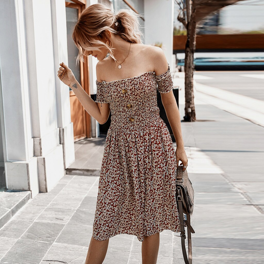 Boho Off Shoulder Flower Print A-line Dress